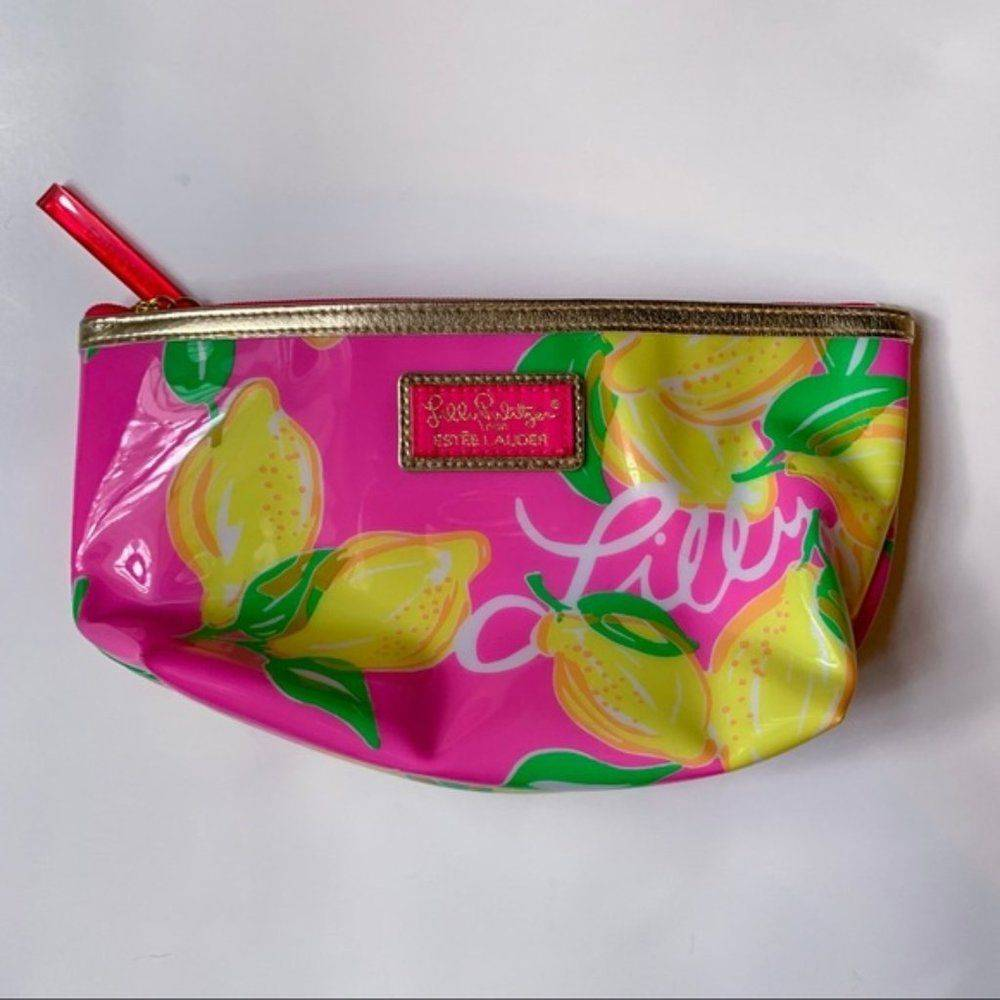 Lilly Pulitzer Pink Lemon PVC Makeup Bag