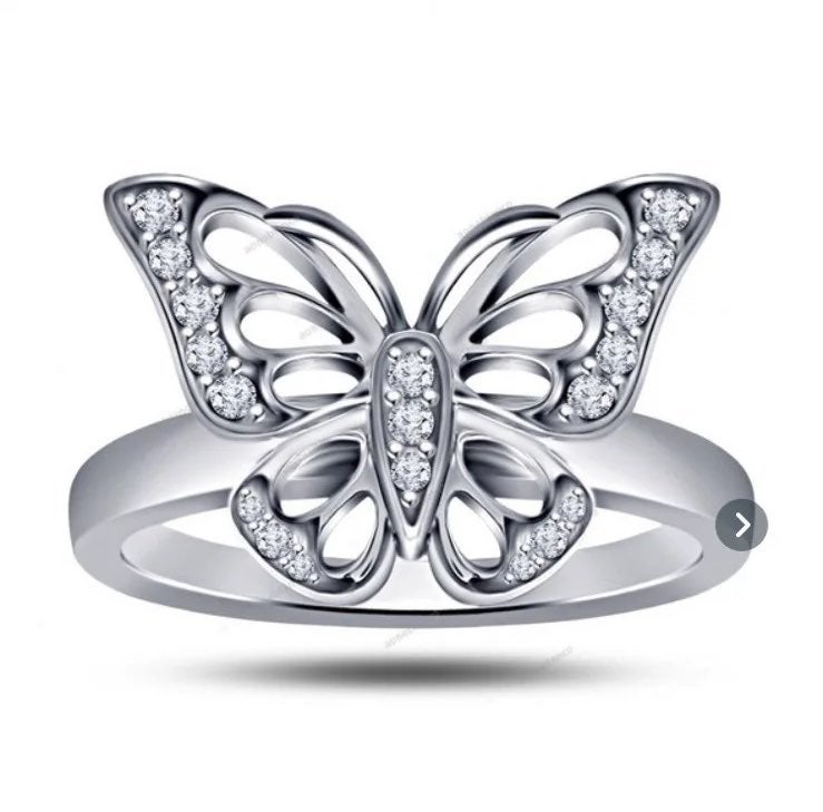 Sterling silver plated butterfly ring