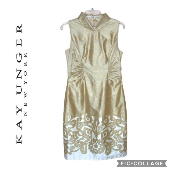 Kay Unger Vintage Gold Silk Dress Size 6