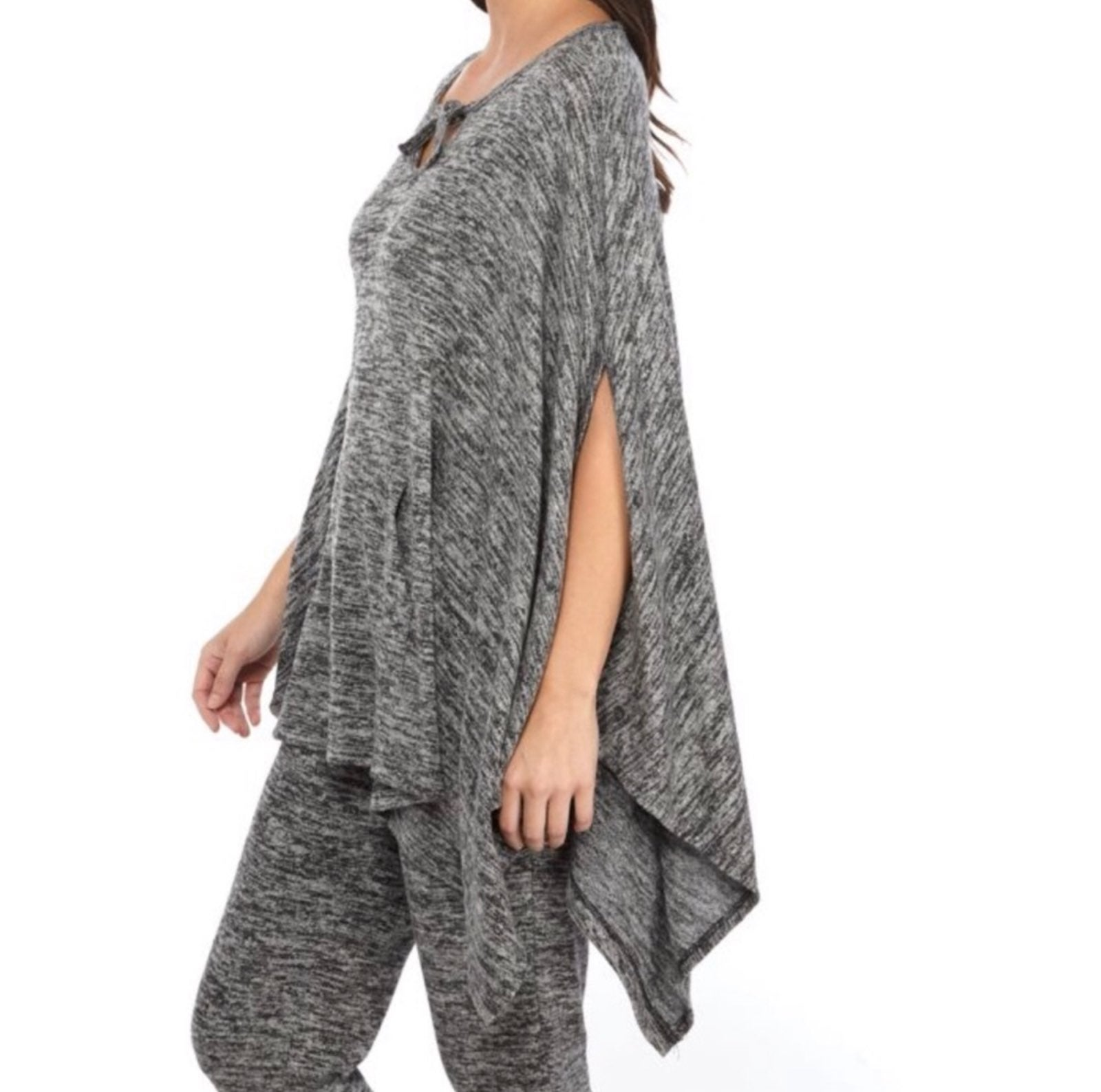 New Directions Hacci Knit Poncho Sweater