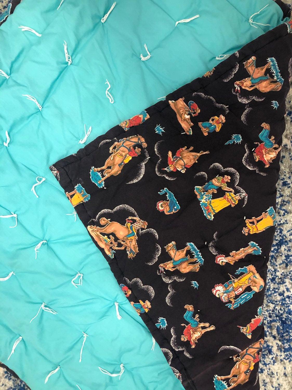 Cowboy Native American print blanket