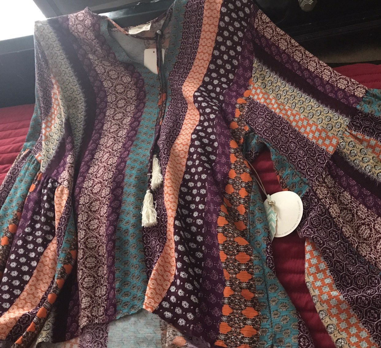 Ladies Boho Style Blouse Flowing Sleeves