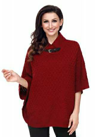 Burgundy high Neck Waffle Knitted Poncho