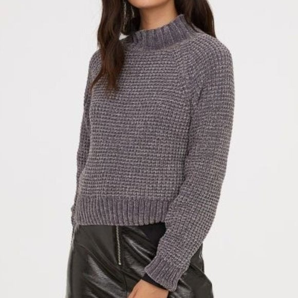 NWT H&M Rib-Knit Sweater Dark Grey