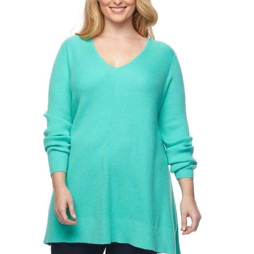 Plus Size Tunic Sweater Ribbed 1X