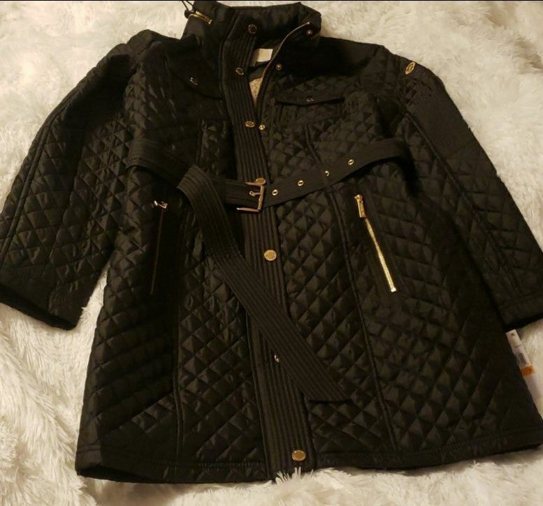 NWT Michael Kors Quilted Belted Coat wit