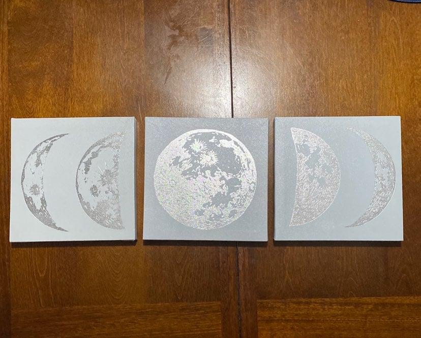 Half moon and moon 3pc canvas wall art