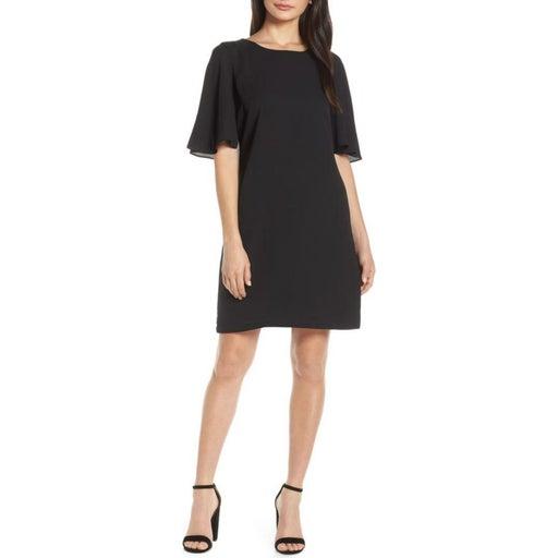 Boohoo Black Flutter Sleeve Mini Dress