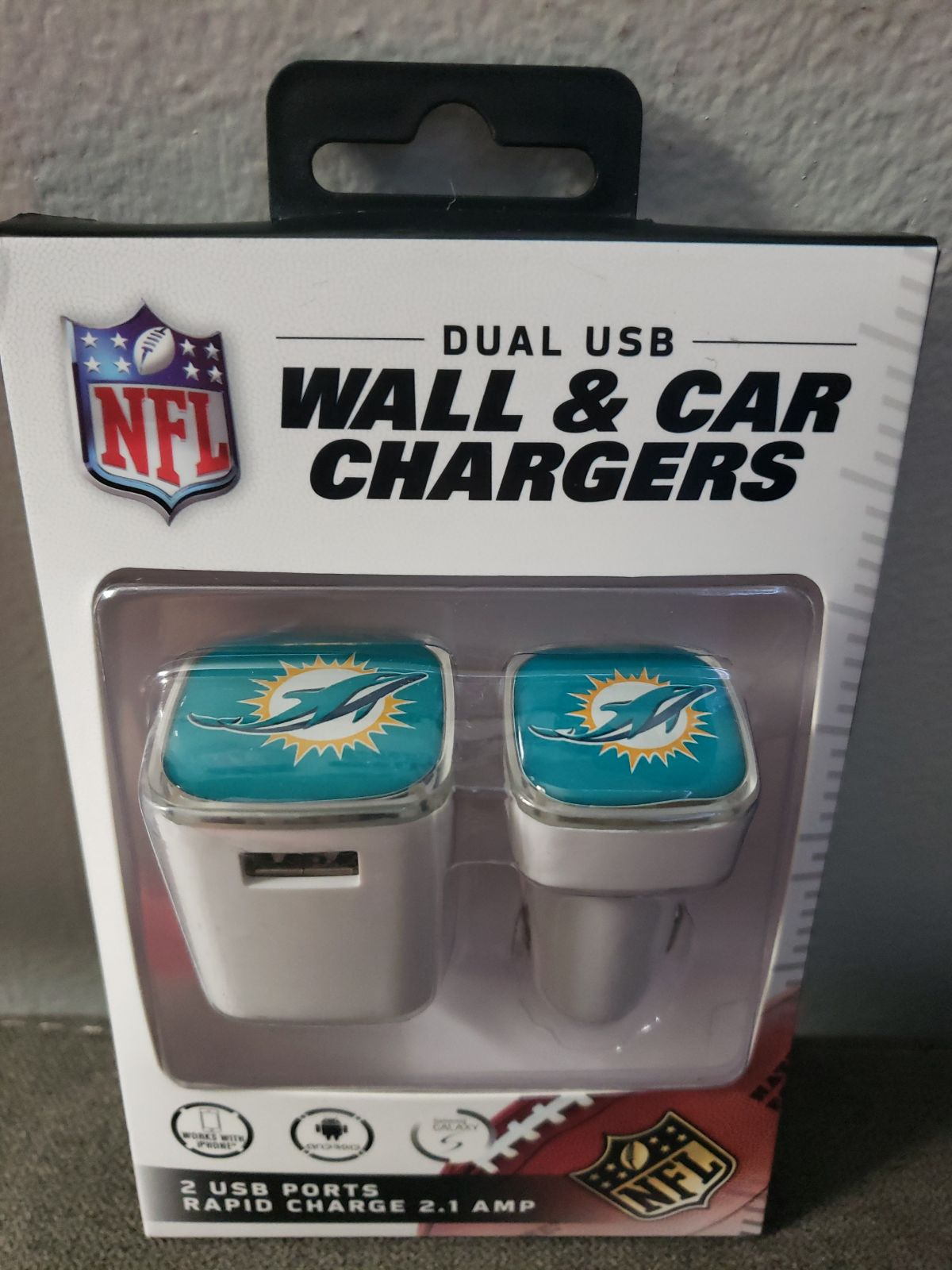 NFL Miami Dolphins Dual wall & car charg