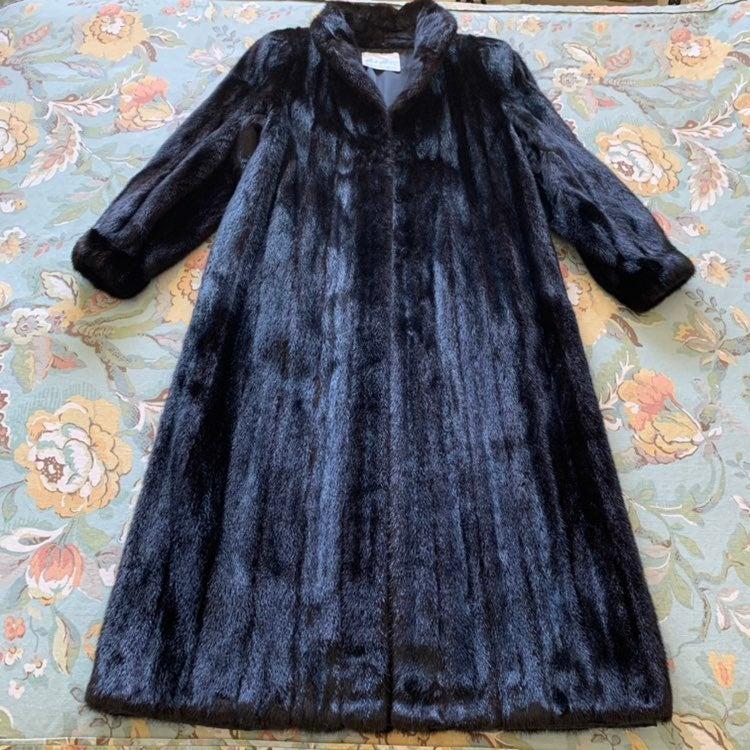 Vtg Mahogany Mink Fur Full Length Coat M