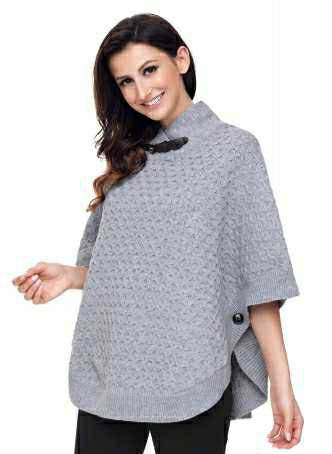 NEW Gray High Neck Waffle Knitted Poncho