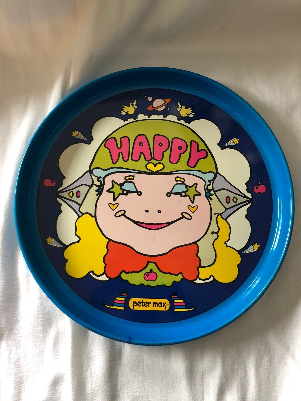 "Vntg Peter Max ""Happy"" Tray"