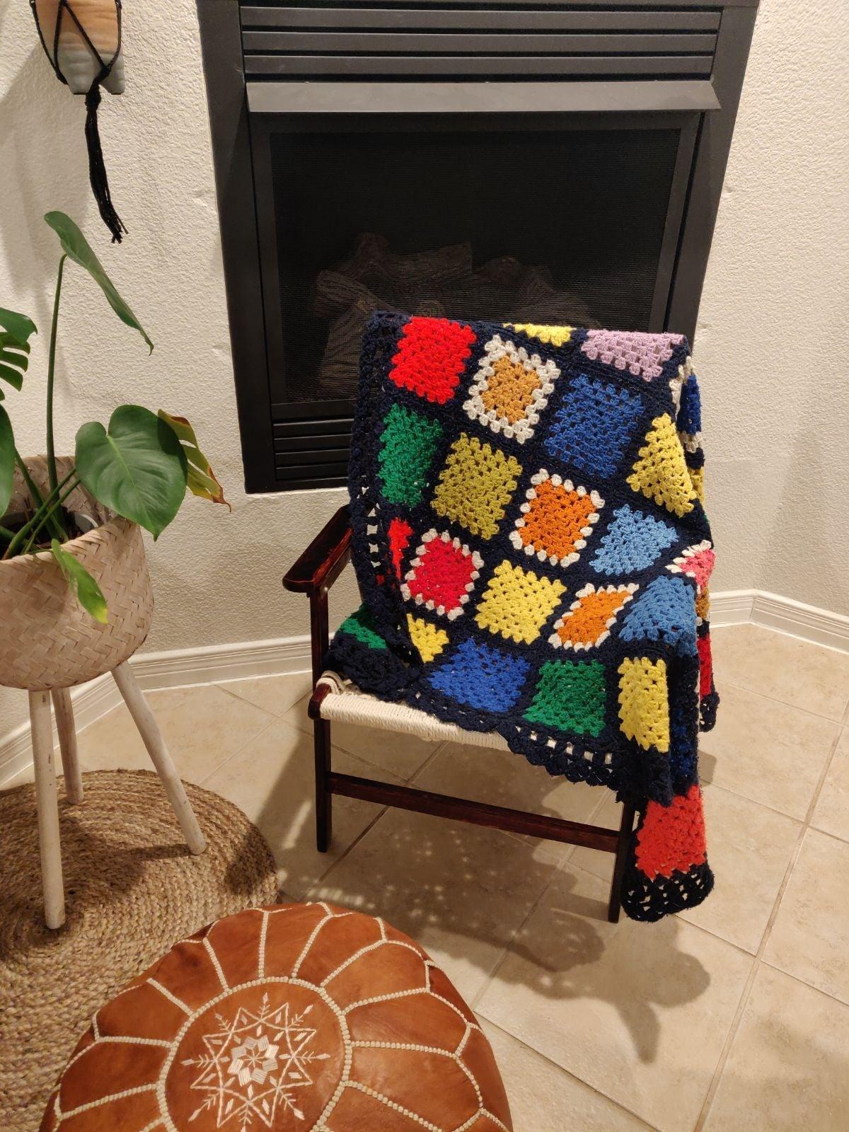 Handmade afghan crochet throw blanket