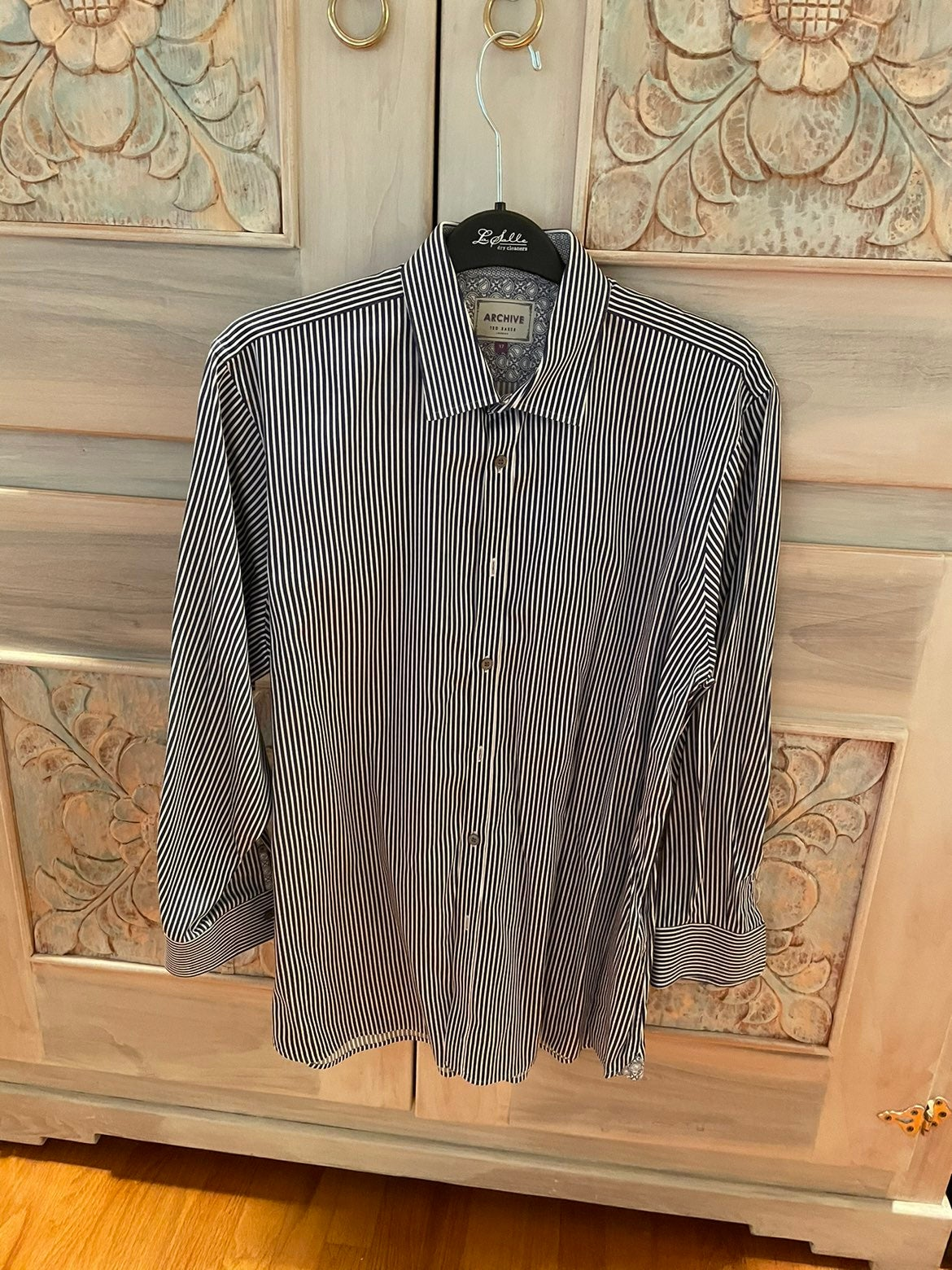 Ted Baker Blue White Striped Button Down