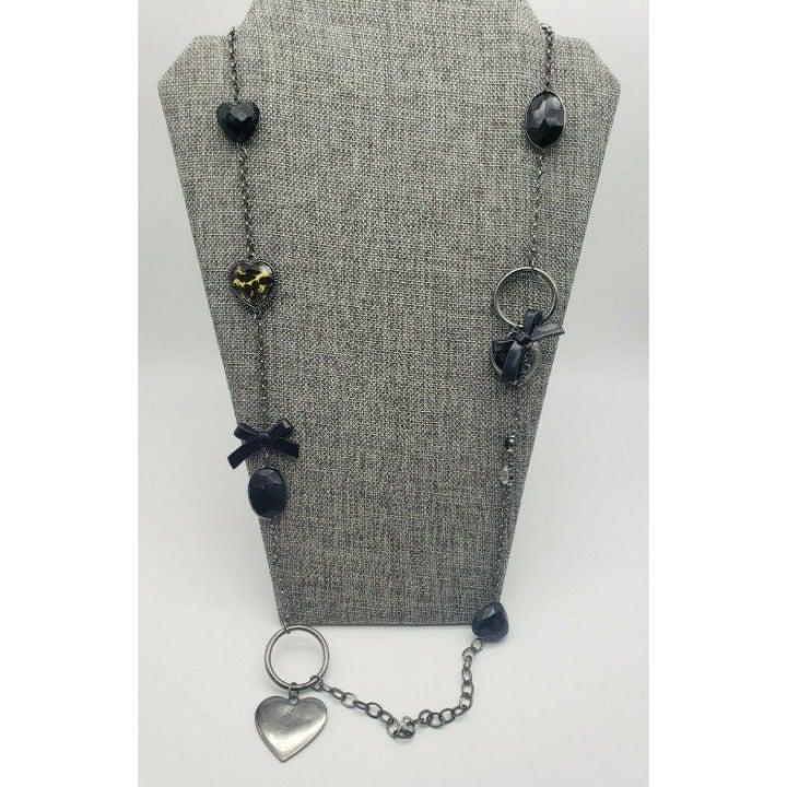 Avenue Long Gun Metal & Black Necklace