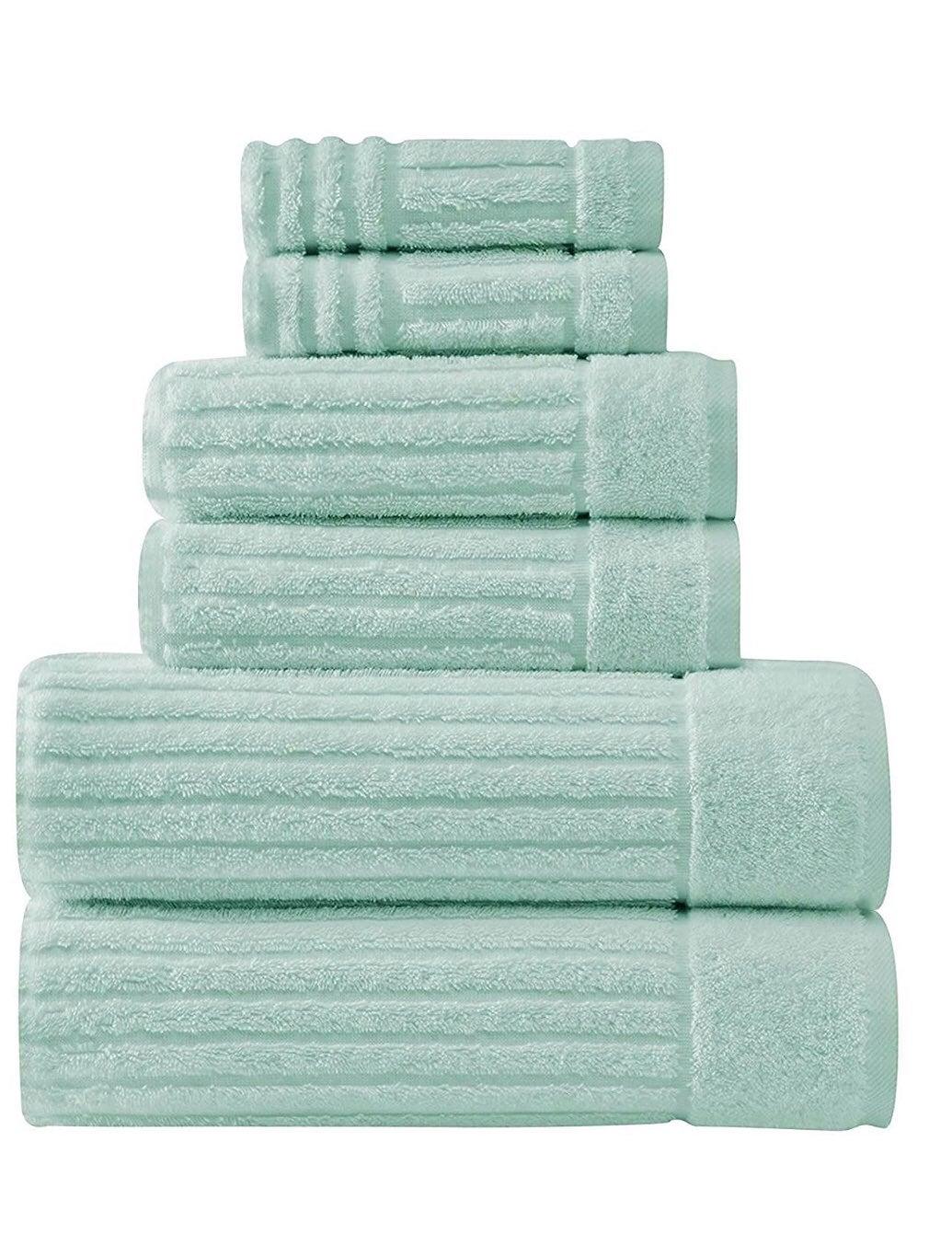 6 pcs Bath towel set in seafoam color