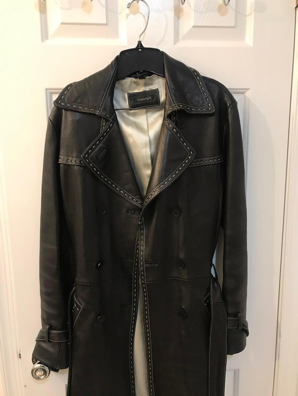 Genuine Black Leather Tahari Trench