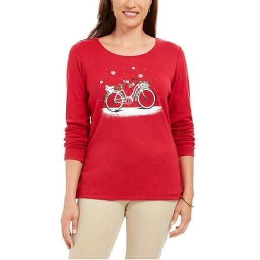 Karen Scott Holiday T-Shirt Red PM New