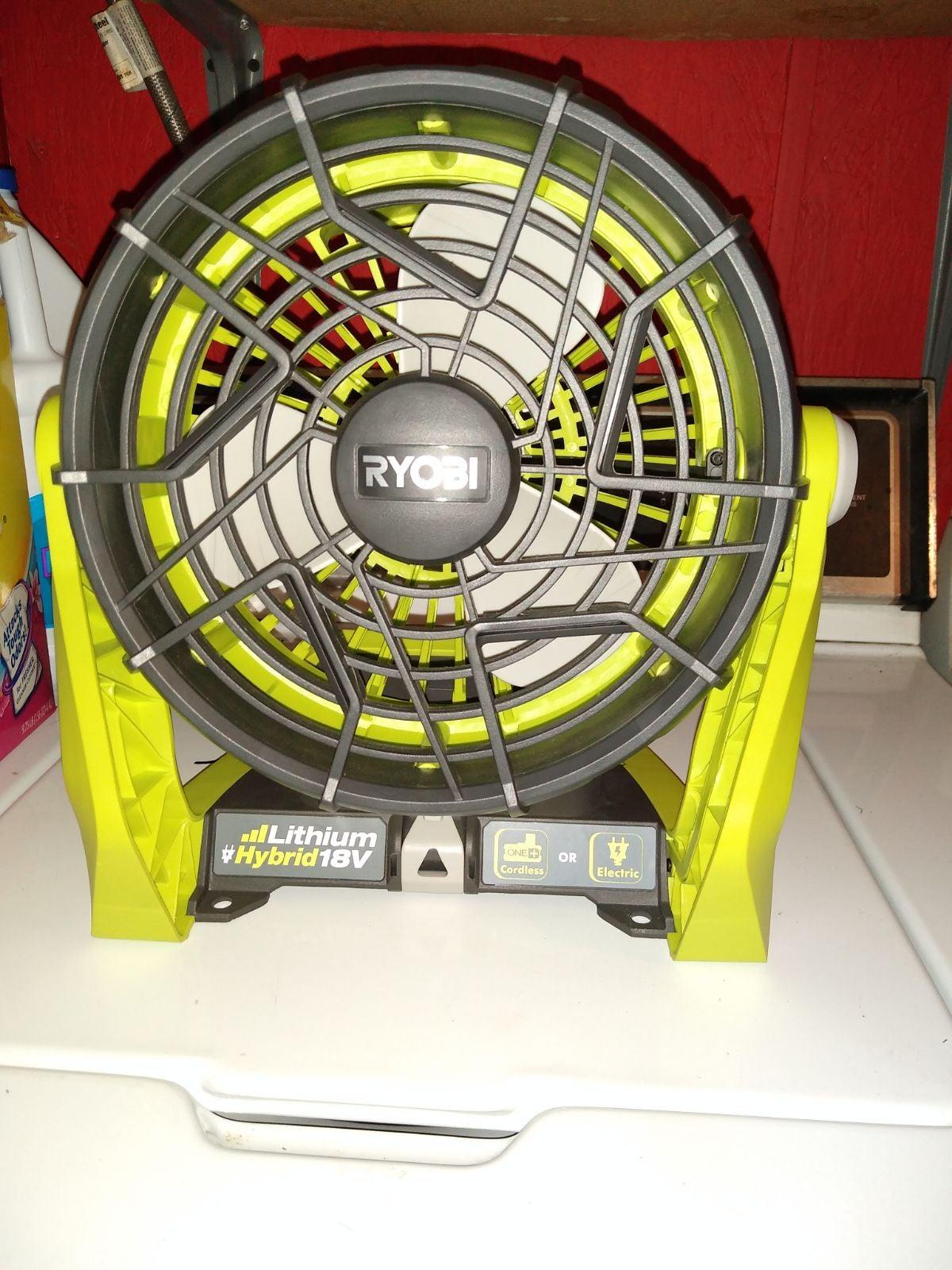 Ryobi lithium hybrid 18v fan