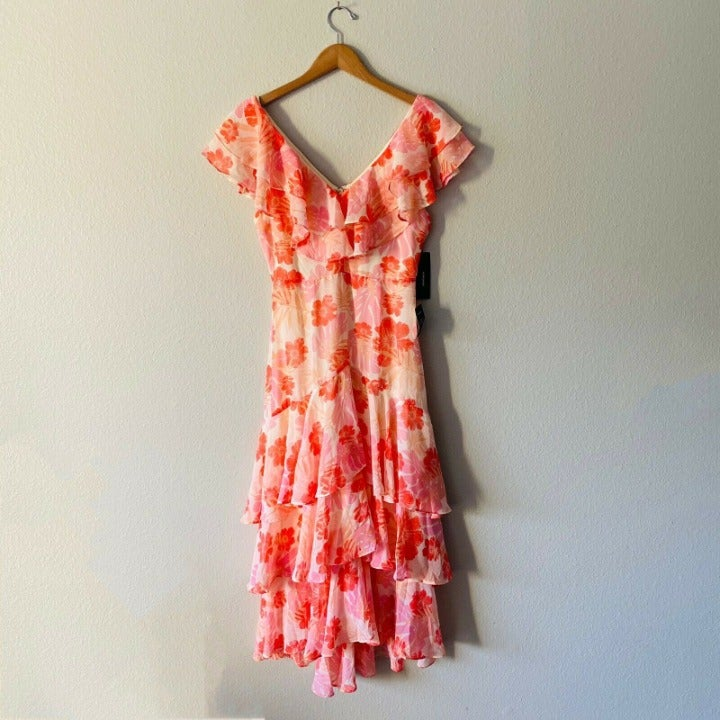 Lulus NWT Alison Pink Floral Ruffled