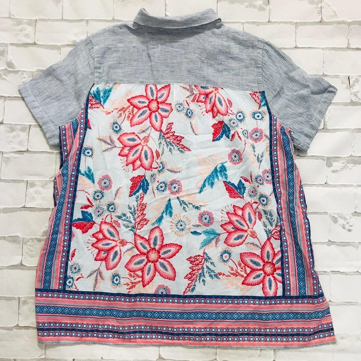 J Jill Linen Floral Button Down Shirt