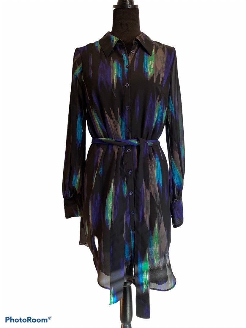 Kirna zabete Blue/Black Button Up Dress