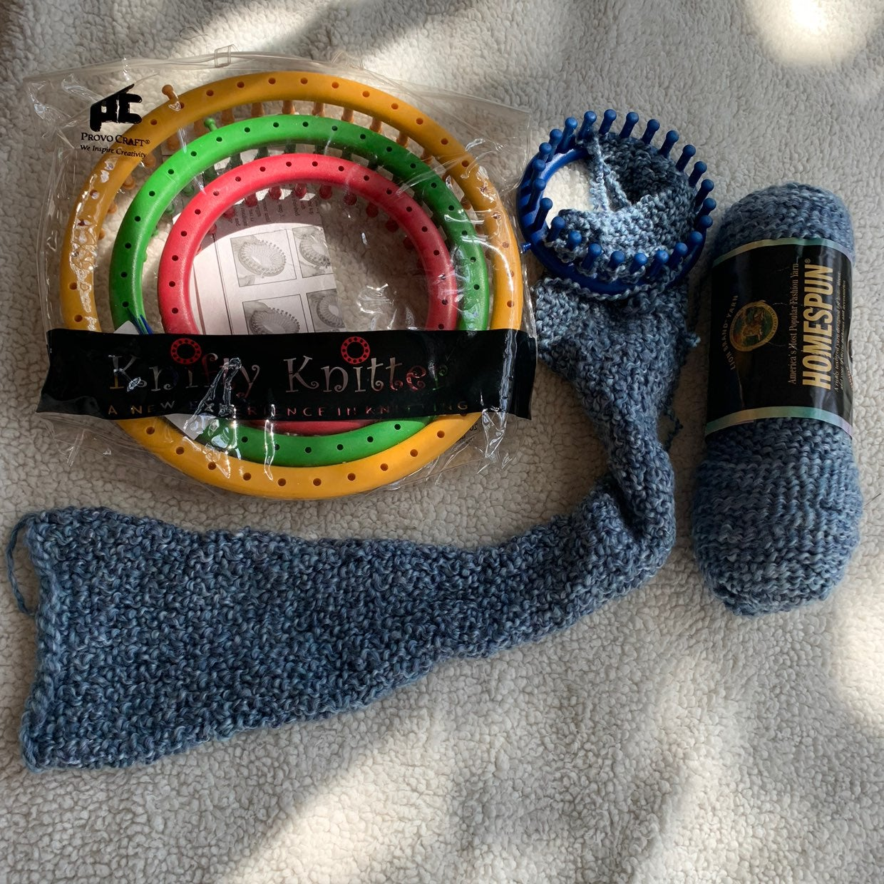 Knifty Knitter Loom Set and yarn