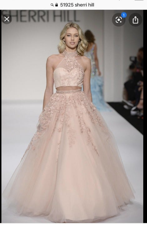 Sherri Hill 51925 Pink Blush 2 Pc PROM 0
