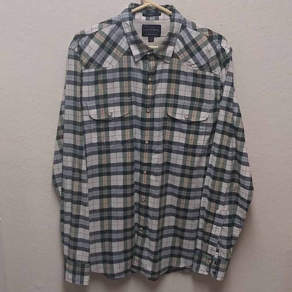 Lucky Brand L Green Plaid Snap Shirt