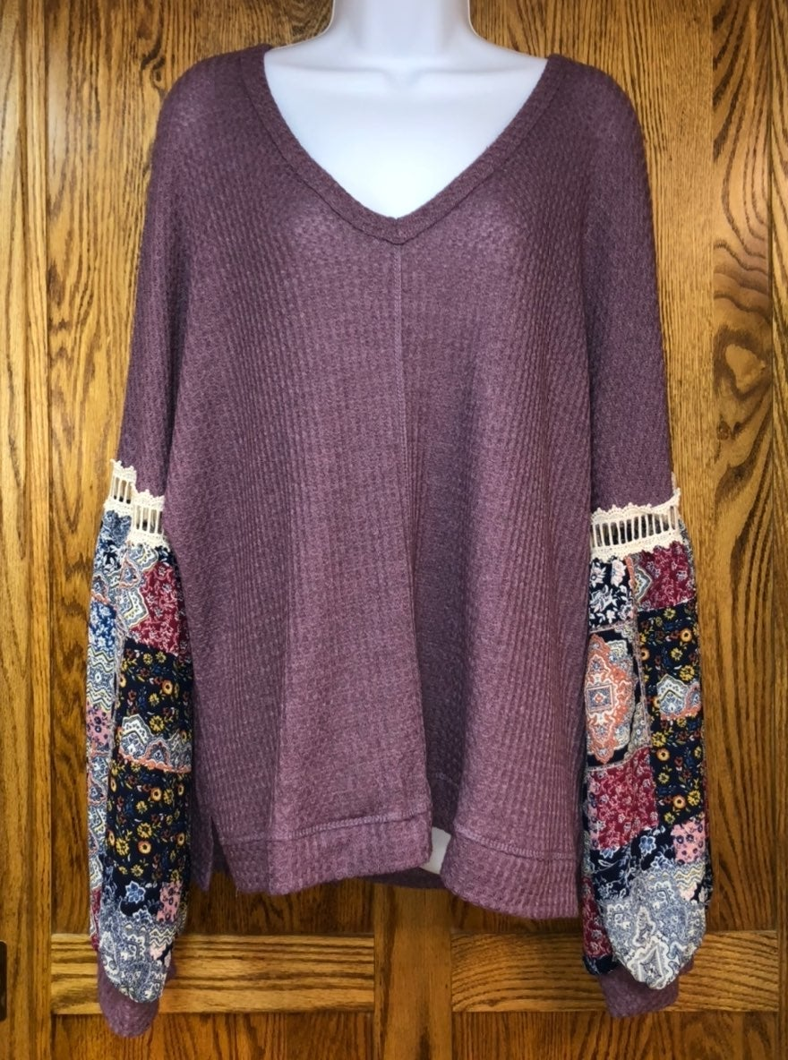 Boho Style Long Sleeve, Loose Fit Top, L
