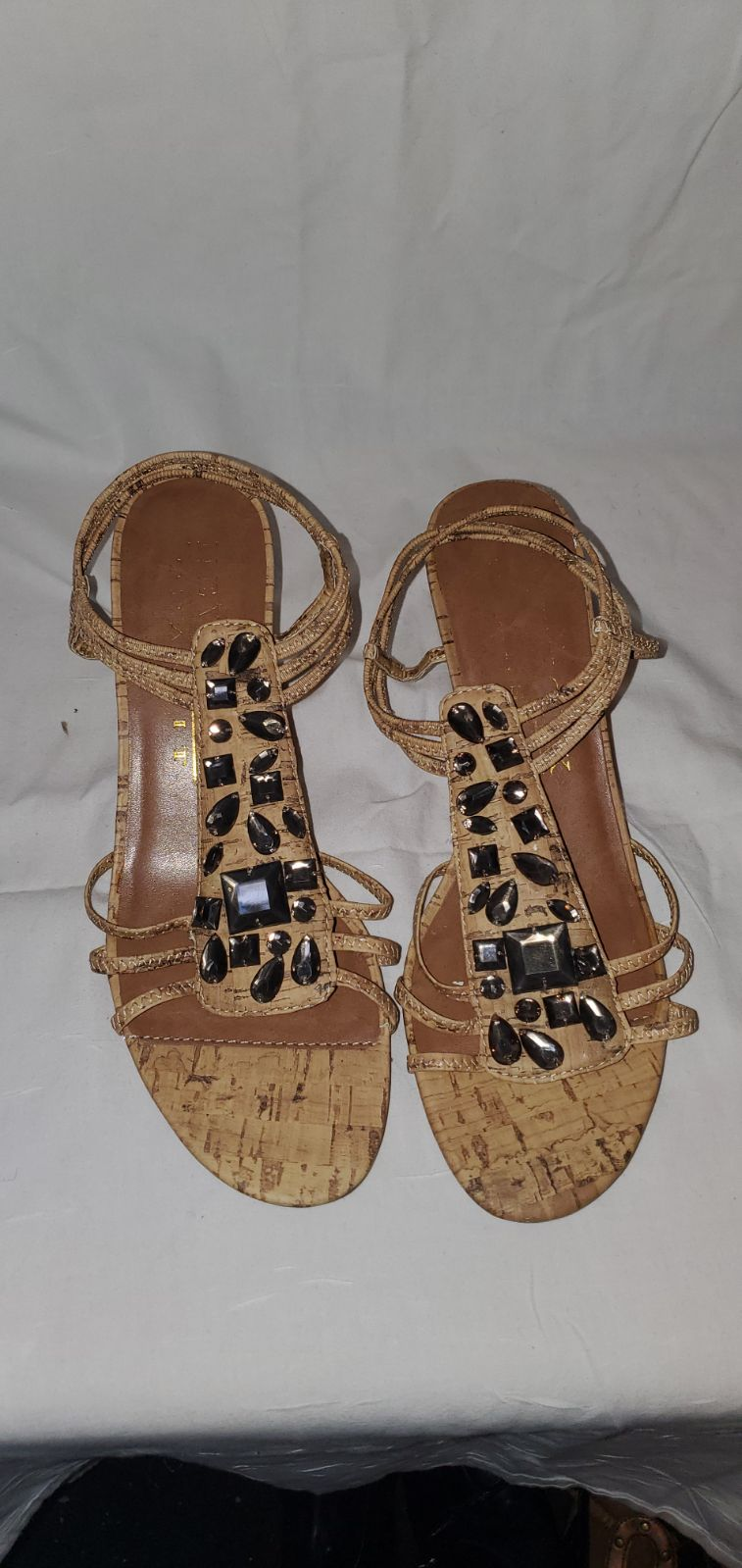 Brown Wedge Sandals with Stones Size 8 W