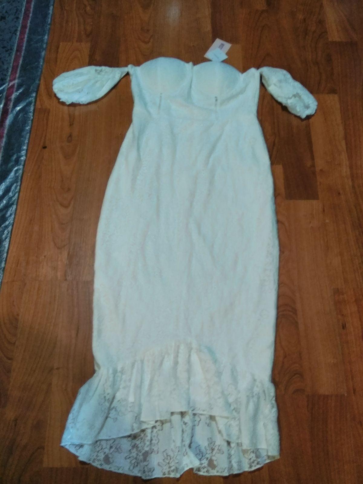 Lace puffball fishtail midi dress 10 new