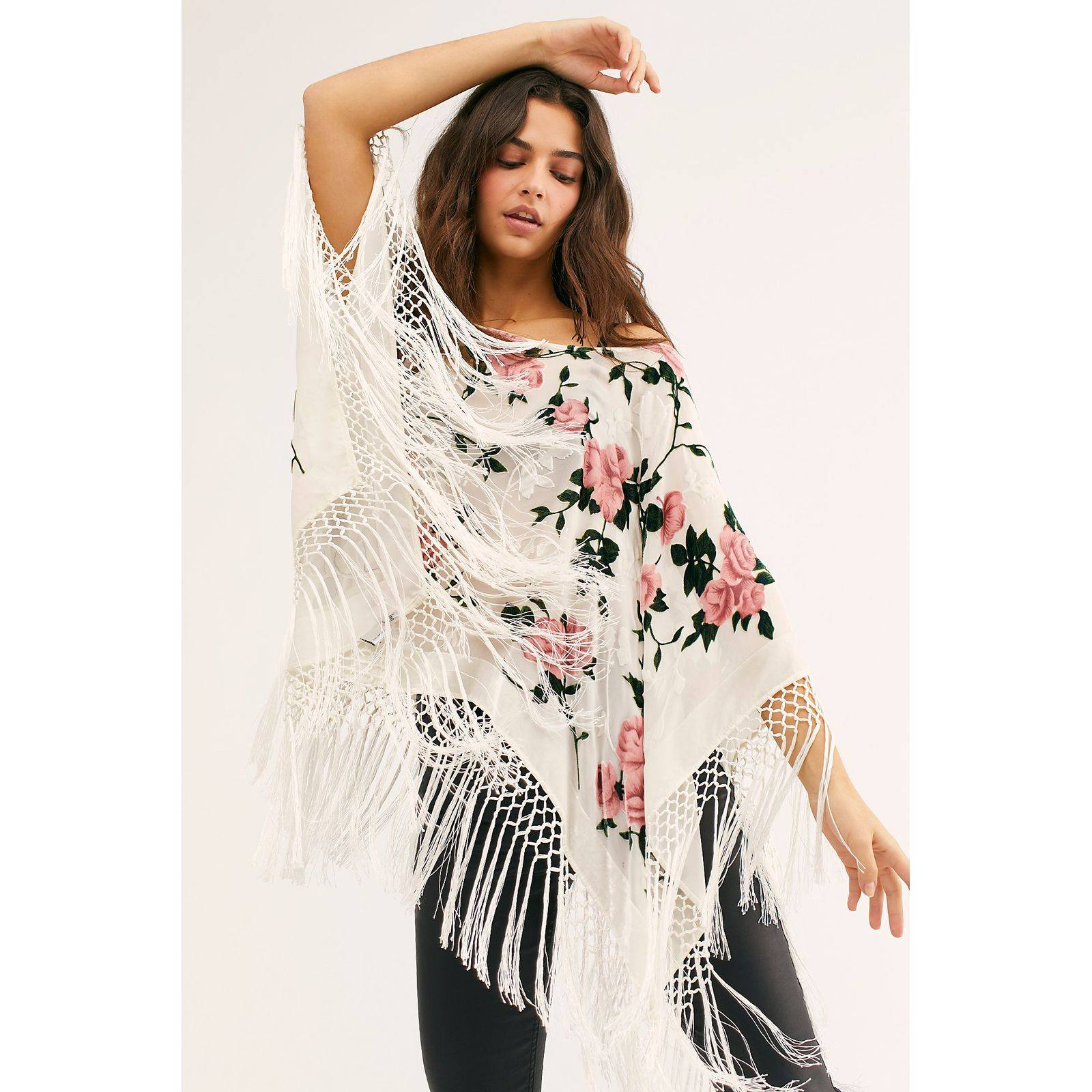 New FP Gypsy Soul Burnout Velvet Poncho