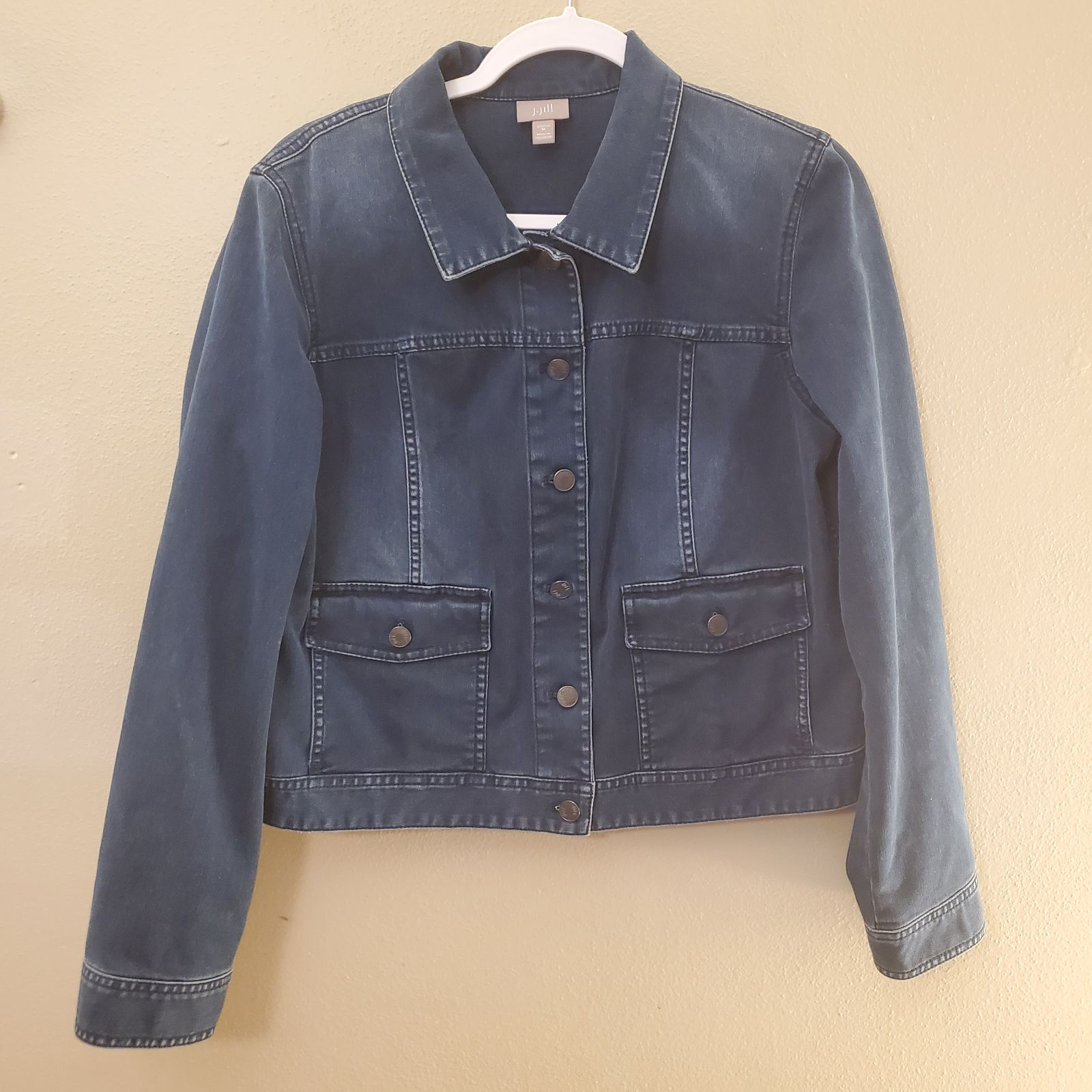 J. Jill Blue Denim Cropped Jacket Medium