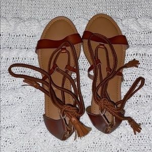 Lane Bryant Tie Up Flat Sandals Size 11W