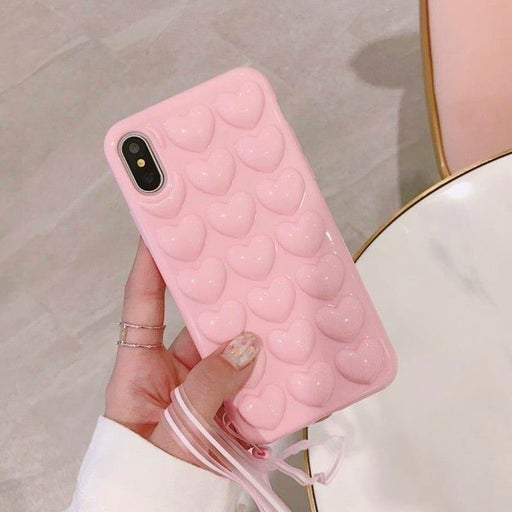 New iPhone 7P/8P 3D Pink Hearts Case A