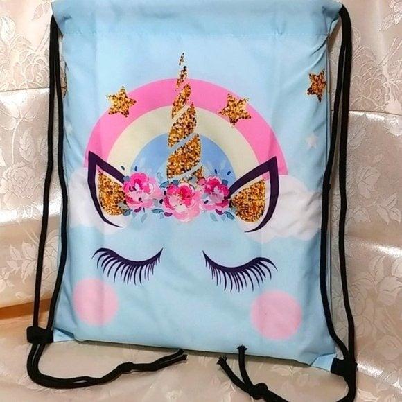Unicorn Graphic Print Drawstring Bag