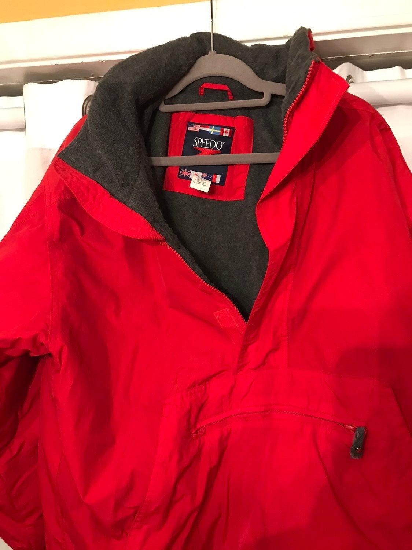 Men Red Speedo Half Zip Pullover Coat XL
