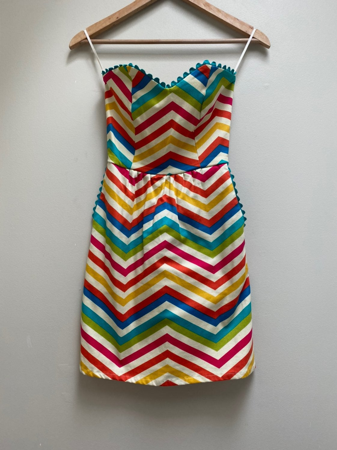Judith March Rainbow Chevron Dress