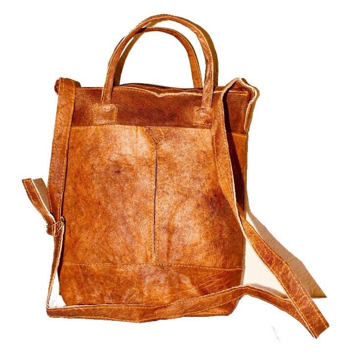 "Handmade Yak Raw Leather Bags 13"" Wide"