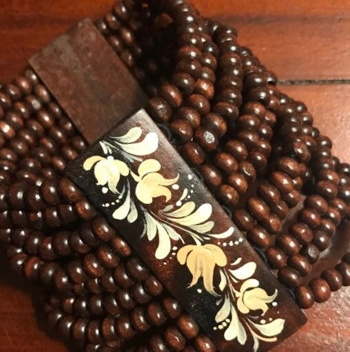Wood Beaded Hand Painted Bracelet