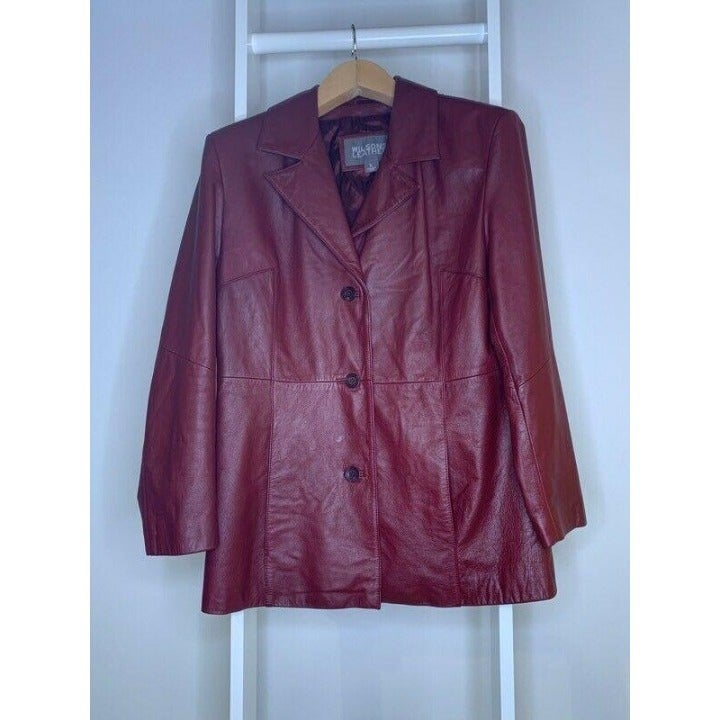 Wilsons Leather Womens Jacket Coat Red
