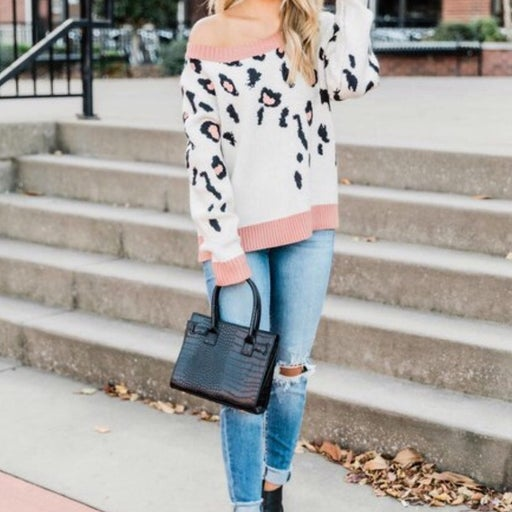 Cream/Rose/Black Animal Pint Sweater