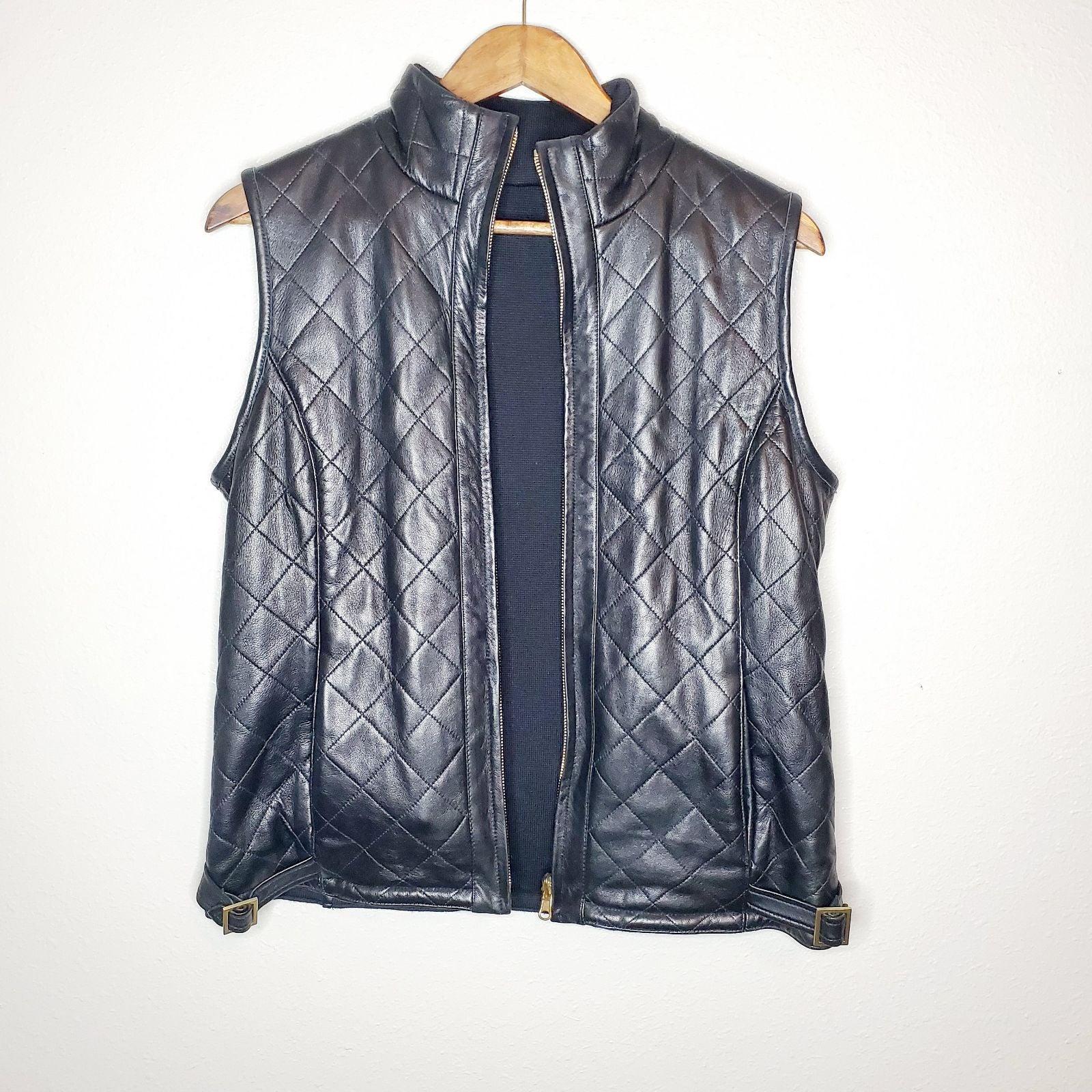 Dana buchman leather reversible vest
