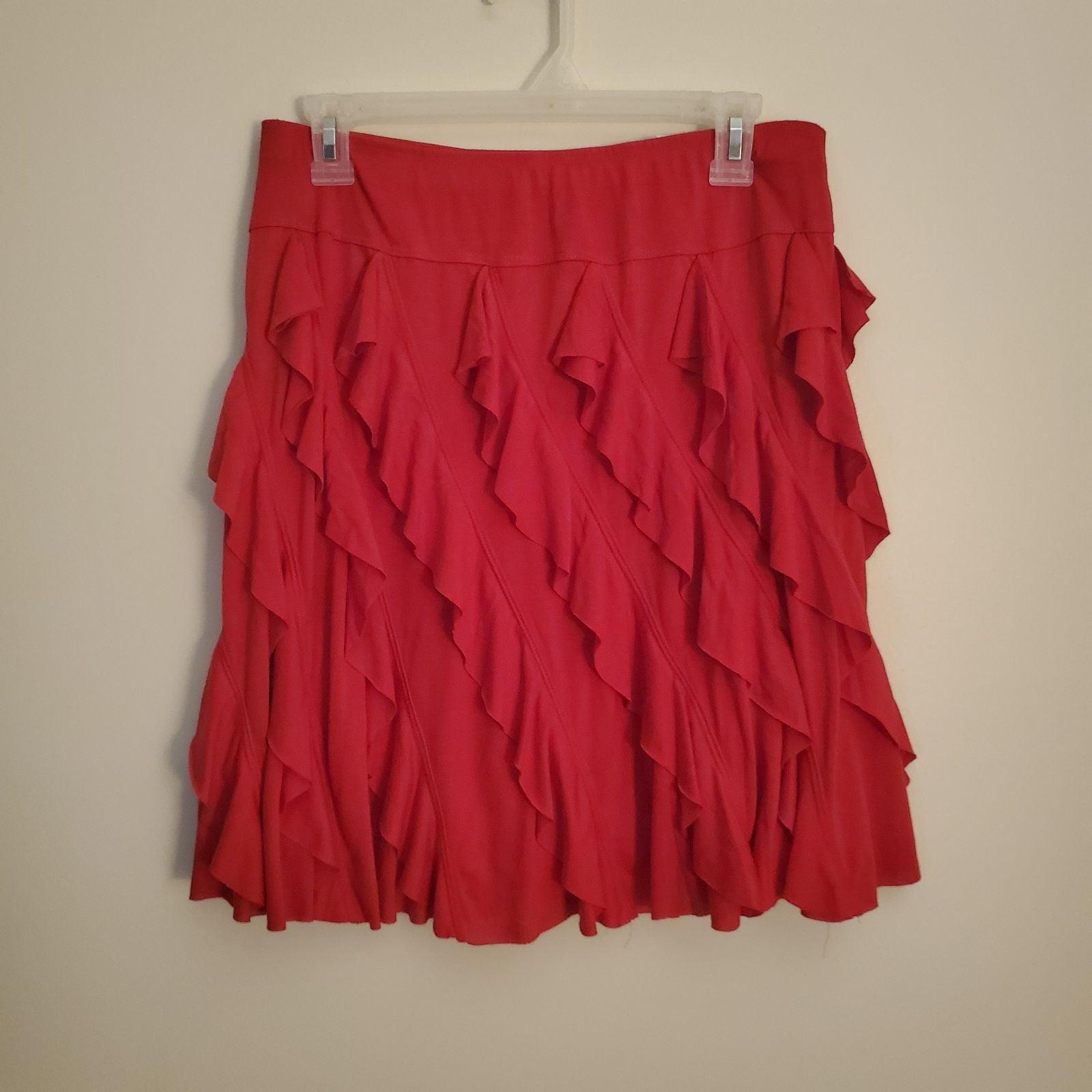 Cato Diagonal Ruffle Stretch Skirt Small