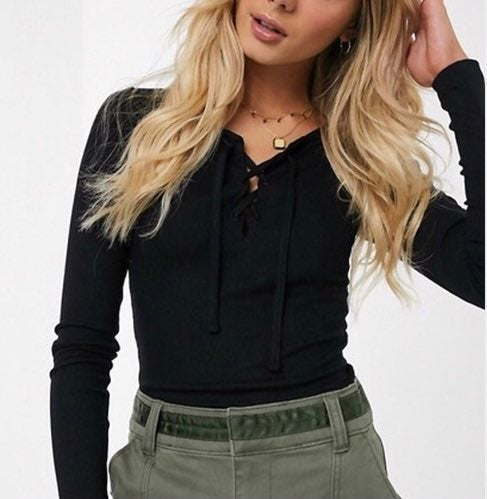 Hollister Black Long Sleeve Lace Up Top