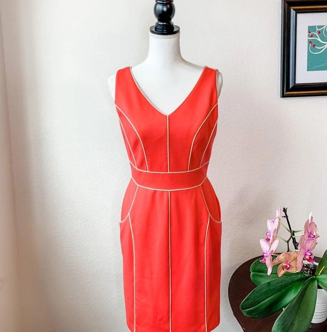 Antonio Melani Coral Dress w/Cream Trim