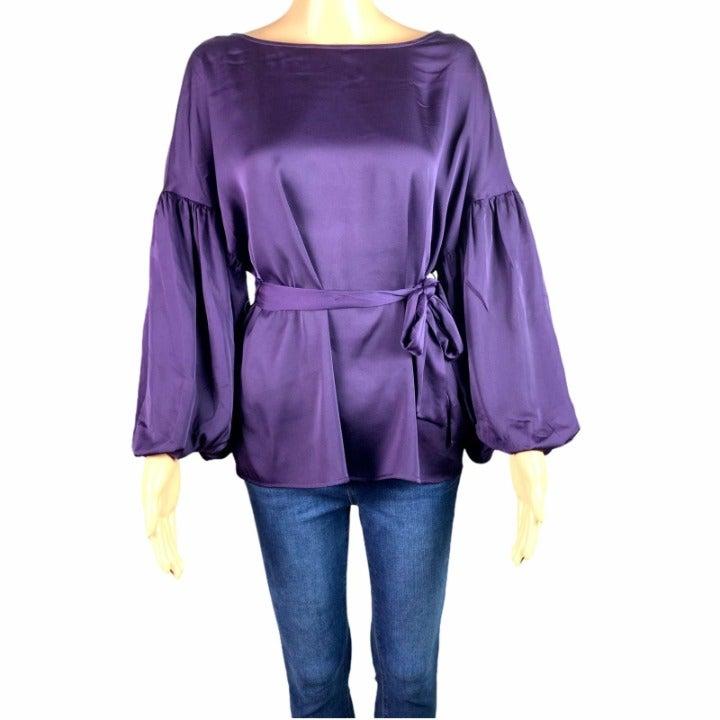 WORTHINGTON Purple Puff Sleeve Blouse