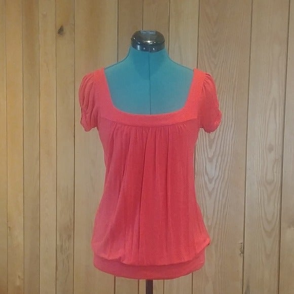 Rue21 Coral Red Princess Cap Sleeve Top