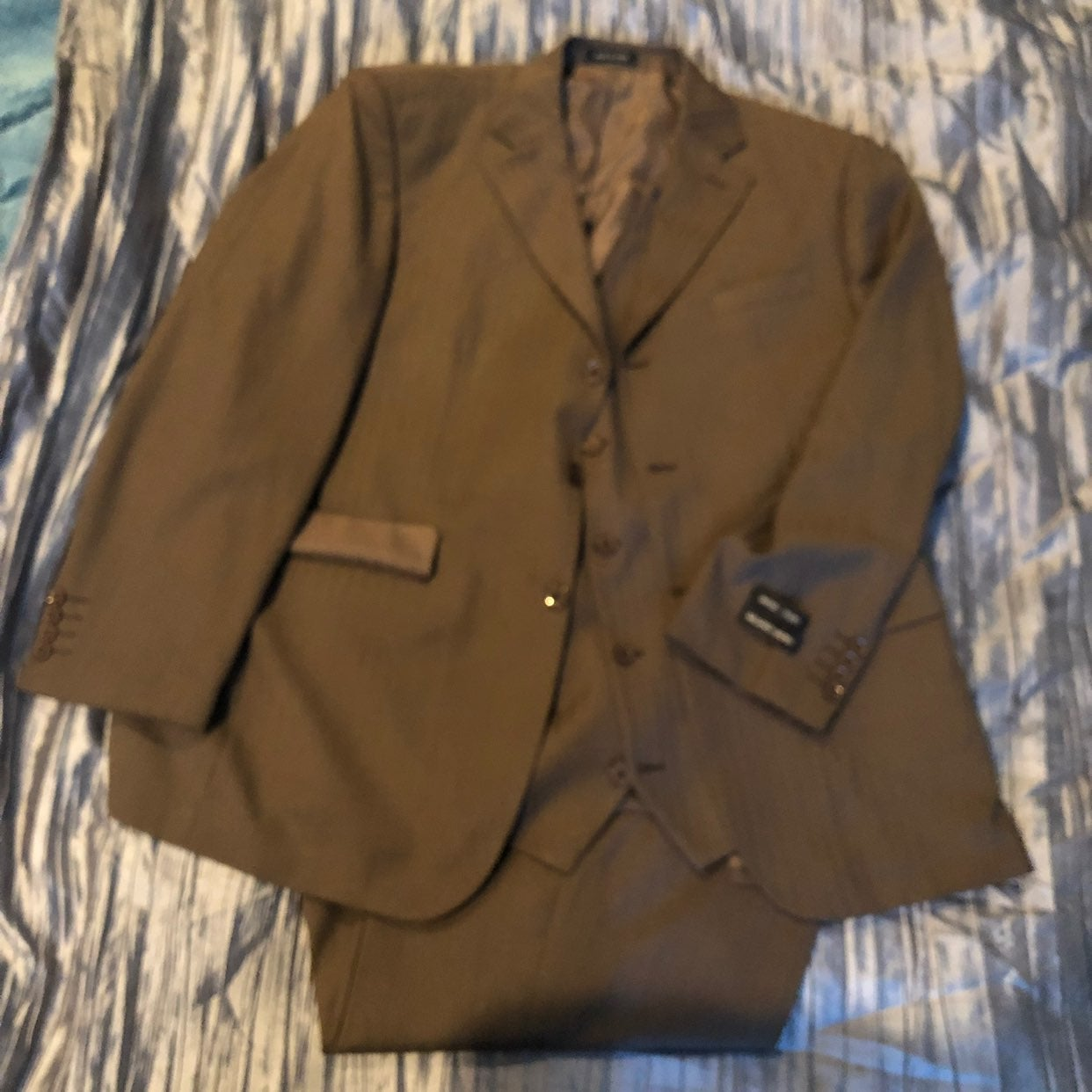 Milano Moda Brown 3 Piece Suit Men 44L